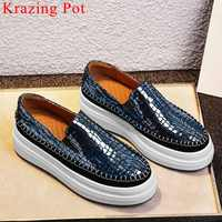Ventilated natural leather round toe thick med bottom platform slip on concise design casual shoes woman vulcanized shoes L9f2