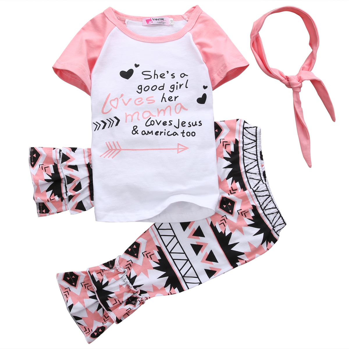 2018 Toddler Girls Kids Summer Outfits Clothes  White  Letter T-shirt Tops+Colorful  Pants+ Headband 3PCS Set  1-6T toddler kids girls clothes cotton long sleeves t shirt top pants headband christmas snowman ruffle polka dot outfits