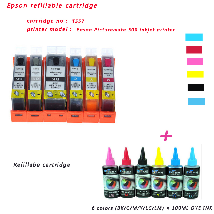 Free Shipping Epson T557 Refillable Cartridge For Epson Picture Mate
