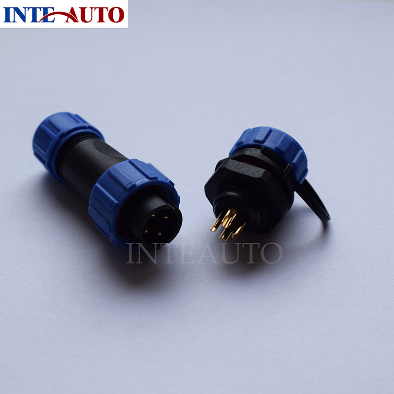 Cross WEIPU SP13 4 pins waterproof connector,cable plug(female) and socket(Male), LED Power wire connector IP68 waterproof connector sp13 type 2 3 4 5 6 7pin ip68 cable connector plug and socket