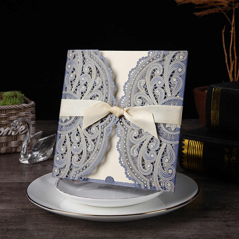 1pcs Sample Blue Laser Cut Wedding Invitations Card lace Elegant Greeting Card WIth Ribbon Envelopes Wedding Party Decoration