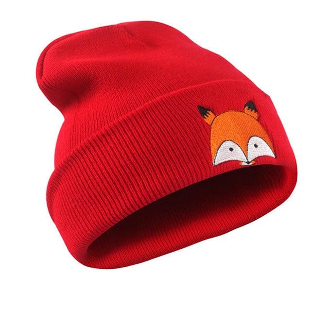 7267a0d6840388 Fashion Headwear Women's Beanies Winter Hats Embroidered Fox Pattern Cuff  Knit Warm Skull Caps Red Grey Navy Black White