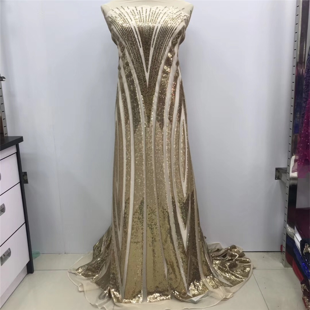 VILLIEA French Net Champagne Gold Sequins Lace Fabrics High Quality African Tulle Lace Fabrics Sequins Wedding