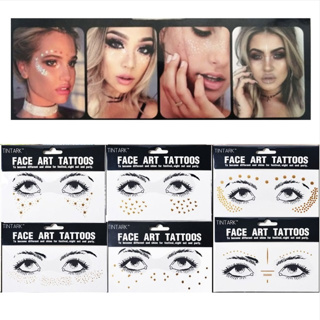 3e36ed4171848 1pack Flash tattoos Personality Fashion Disposable Gold Face Tattoo  Stickers Waterproof Bronzing Beauty Freckles Makeup Body art