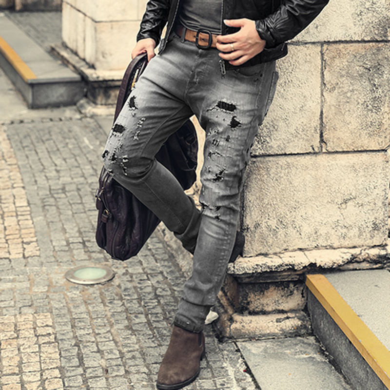 Men retro washed slim straight casual button fly ripped holes jeans pants male micro elasticed hip hop grey winter jeans K786