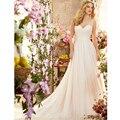 Свадебные платья novia Сшитое Кот Шифон V Шеи Плиссированные Line Свадебное Платье Элегантные Свадебные Платья Свадебное Платье