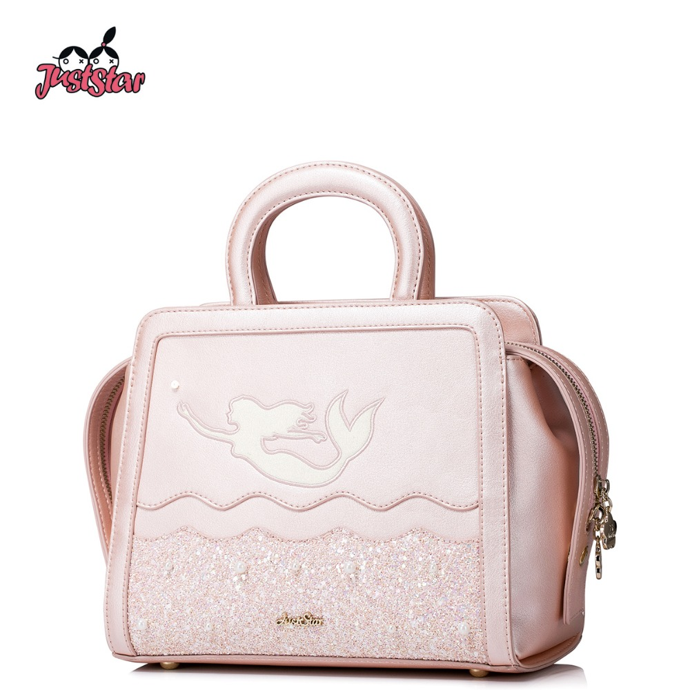 JUST STAR Women PU Leather Handbags Ladies Tote Purse Girl's Embroidery Mermaid Crossbody Bags Female Pink Messenger Bags JZ4385 just star women s pu leather messenger bags ladies embroidery shoulder purse female chain leisure whale crossbody bags jz4468