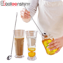 BalleenShiny Stainless Steel Long Handle Spoon Kitchen Creative Ice Cream Coffee Cocktail Teaspoons Soup ladle Tea Drink Spoons