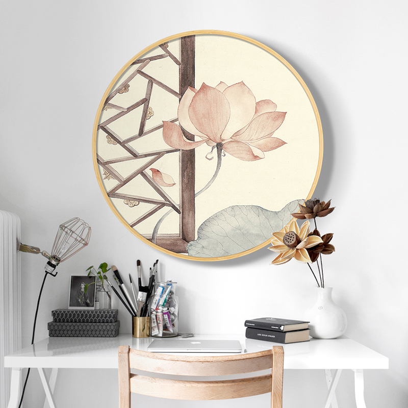 Home Decorat: New Diamond Painted Chinese Lotus Bedside Bedroom Painting