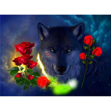 new diy 5d diamond mosaic  embroidery black wolf and roses full square/Round painting needlework home decor h530