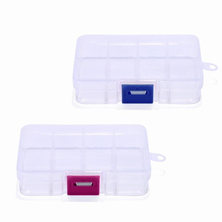 Plastic 8 Slots Adjustable Jewelry Storage Box Case Craft Organizer Bead Dividers Saving Space Home Dressing Organizador #M