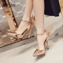 BYQDY Fashion Butterfly Wing Top Sold Buckle Strap Women Pumps Sexy Pointed Toe High Heel Party Shoes Size 35-40