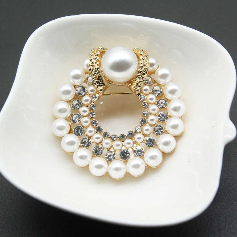 Женская и мужская брошь RHao, классическая круглая брошь в форме цветка, украшенная жемчугом и кристаллами, аксессуар для одежды