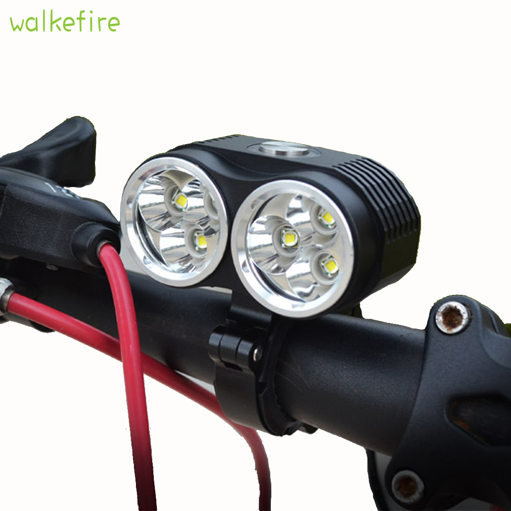 Walkefire Bicycle Lamp Bike Light 10000LM 6 x  XM-L T6 LED Bicycle Light 3 Modes 3 in 1 Dual Head Waterproof Bicycle Lamp