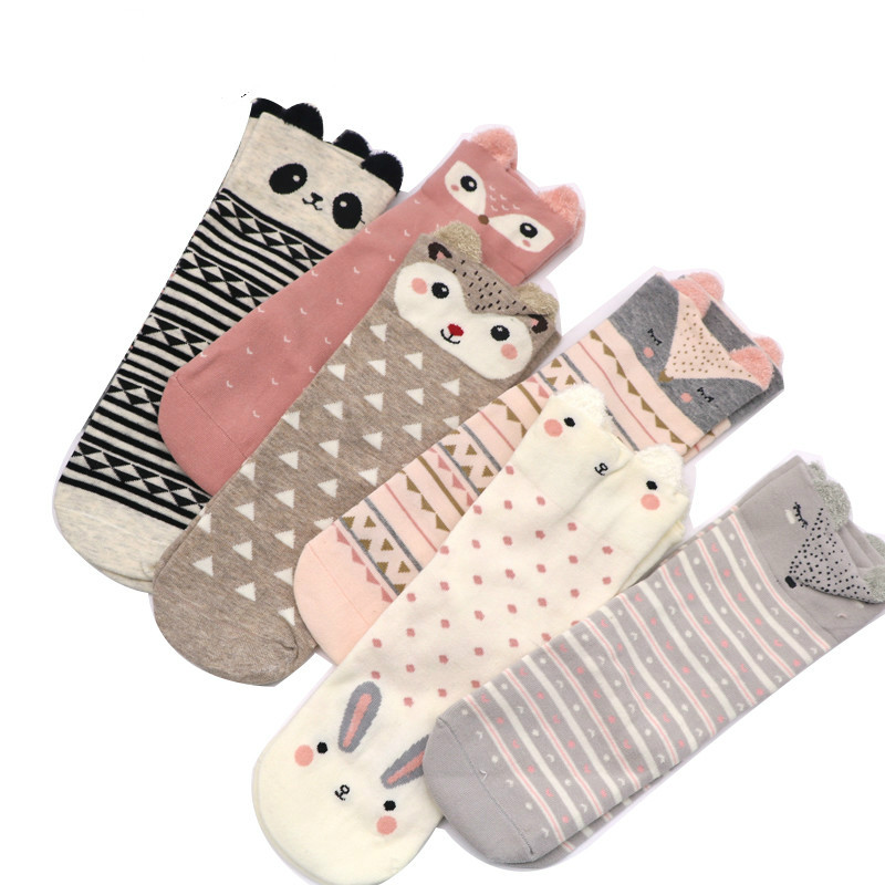 Fashion Cartoon Animal Cute Socks for Women Kawaii Soft 3D Ears Women's Short Socks Funny Christmas Socks for Ladies Girls Sox