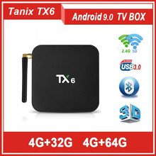 Новый TANIX TX6 ОС Android 9,0 ТВ BOX AllWinner H6 4g Оперативная память 64g Встроенная память 4 ядра DDR3 2,4 г/5G WI-FI H.265 4 K HD BT5.0 Smart Media Player