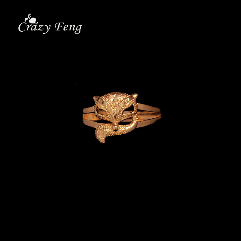 Classic Fox Head Ring Gold Color Adjustable Ring Brand New Femme Jewelry Student Graduation Memorial Gift 1 Pcs Free Shipping