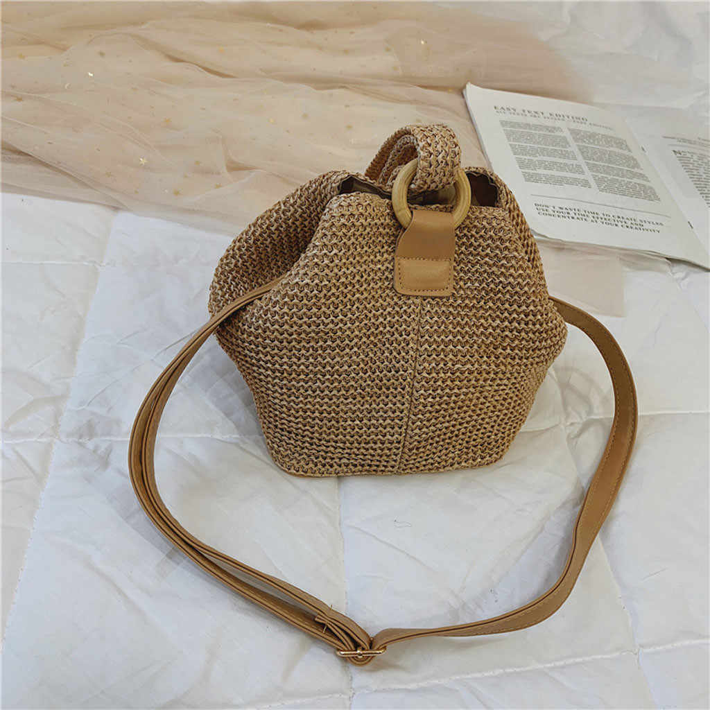 Simple Straw Round Women shoulder bag Handmade Woven Bohemian Handbag Summer Beach Lady wicker rattan bag Large capacity #DX