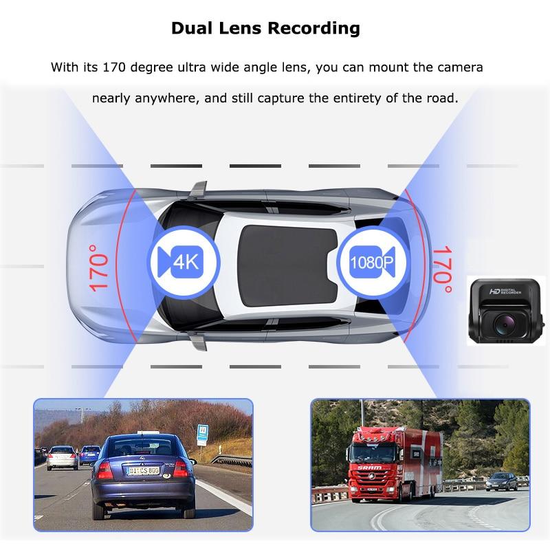 Carro traço cam 2160 p 4 k ultra hd com 1080 p câmera traseira wifi gps logger adas dupla lente dashcam carro dvr visão noturna + 32g cartão sd - 5