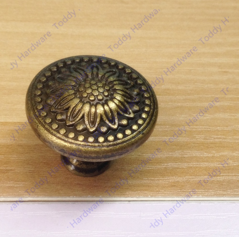Medium Of Antique Brass Drawer Pulls