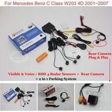 Liislee Car Parking Sensors + Rear View Camera = 2 in 1 Visual Parking System For Mercedes Benz C Class W203 4D 2001~2007