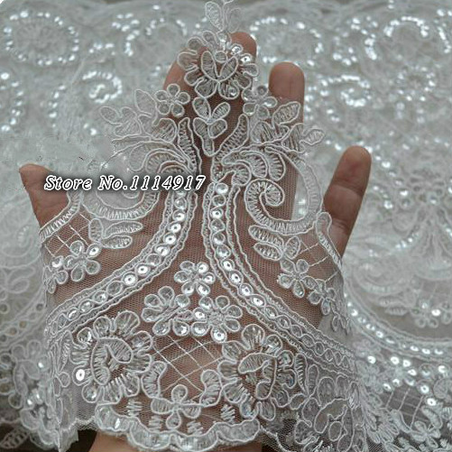 Buy white paillette lace decoration for Wedding dress fabric store