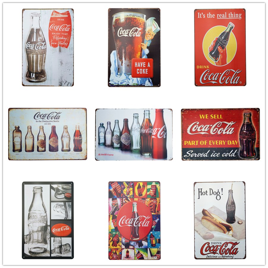 Europe Regional Feature Metal Old Tin Sign Coke Cola Classic Poster Plaque Bar Pub Club Cafe Plate For Wall Decor Art