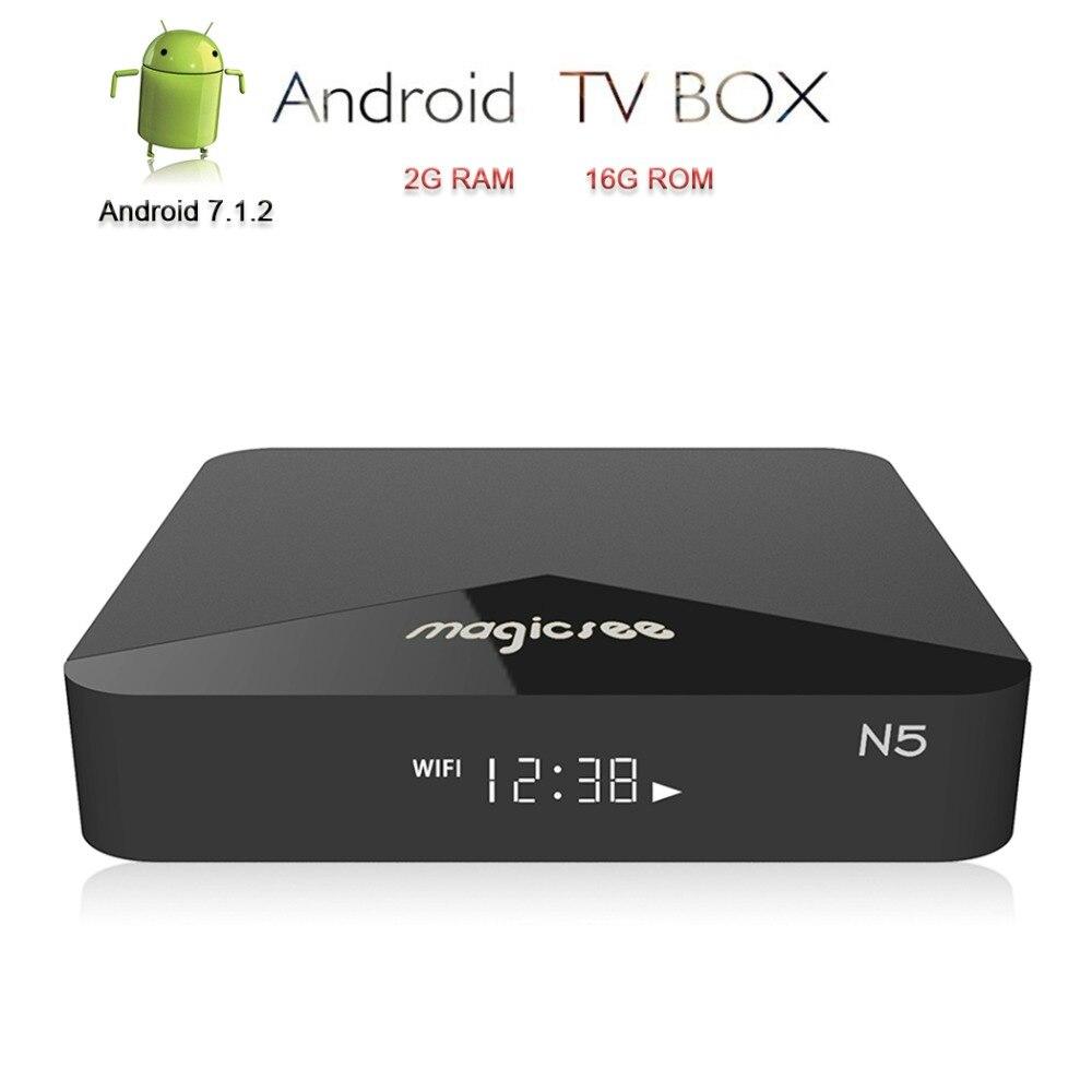 Magicsee N5 Android 7.1.2 TV Box Smart TV 4K Set Top Box IPTV H.265 Media Player TV Receiver DDR3 2G RAM/16G ROM Amlogic S905X