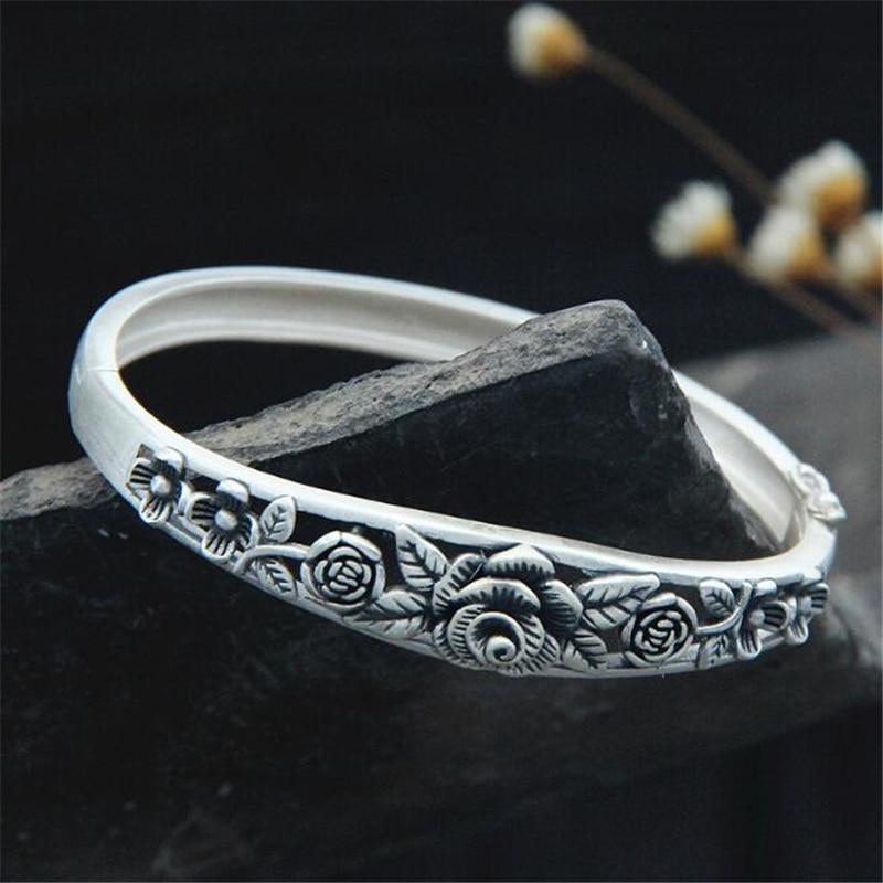 2018 New S990 Silver Flower Open Bangle for Women Beautiful Peony Rose Bracelet Cuff Hand Jewelry Wide 12mm 25.60G