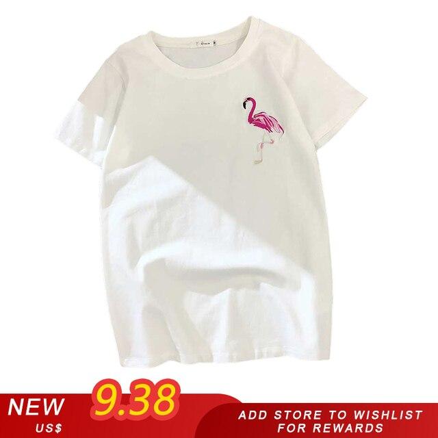 Mới ngày và đêm phụ nữ áo sơ mi t lỏng in thêu harajuku ngắn-tay T-Shirt đáy áo sơ mi nữ 2019