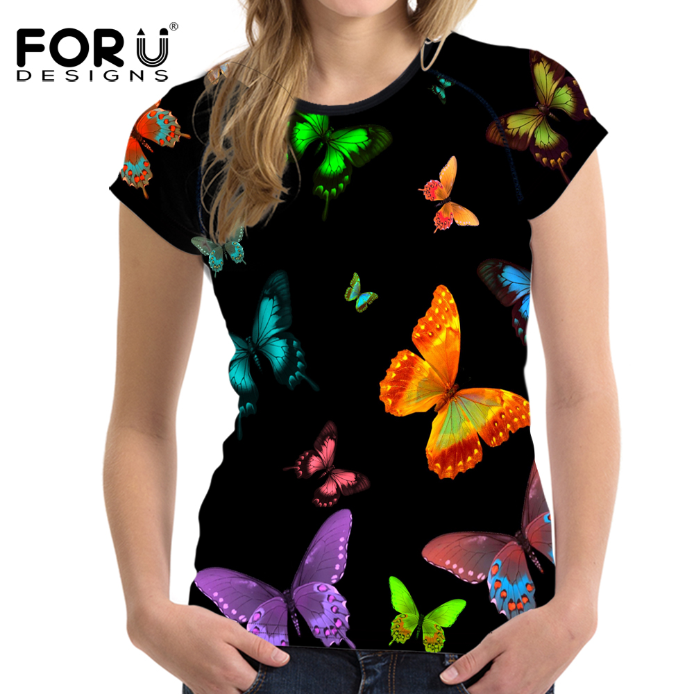 FORUDESIGNS Summer Women Short Sleeve Tee Comfortable Beauty Butterfly 3D   t     Shirt   Casual Tops Girls   T  -  shirt   Harajuku Stylish Tee