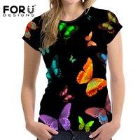 FORUDESIGNS Zomer Vrouwen Korte Mouw Tee Comfortabele Schoonheid Vlinder 3D t-shirt Casual Tops Meisjes T-shirt Harajuku Stijlvolle Tee