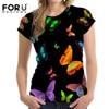 FORUDESIGNS Summer Women Short Sleeve Tee Comfortable Beauty Butterfly 3D T Shirt Casual Tops Girls T