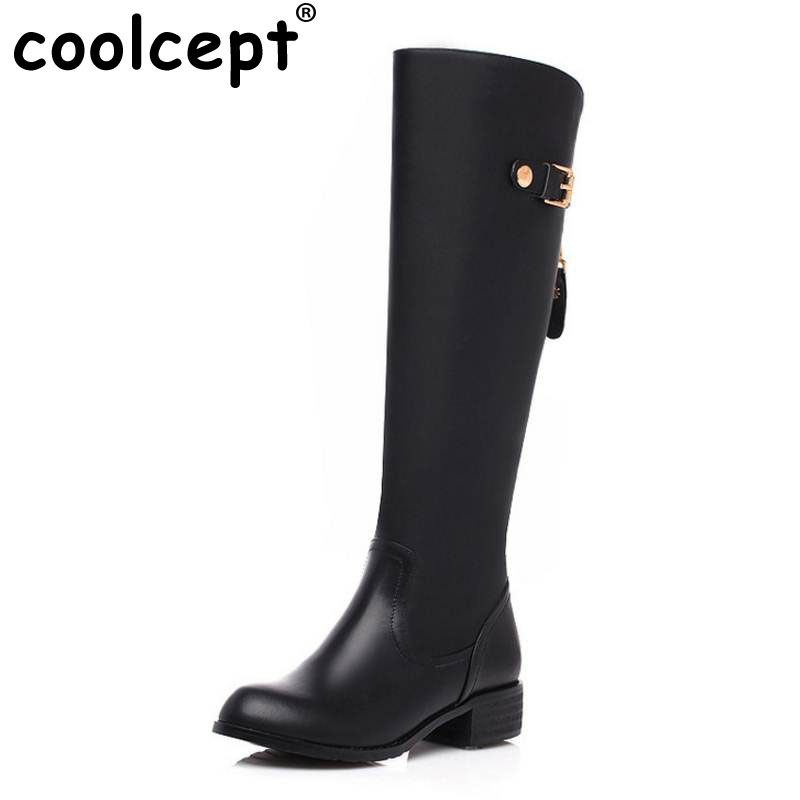 Coolcept Women Real Genuine Leather Round Toe Knee Boots Woman Low Heel Knight Boot Female Zipper Flat Shoes Size 33-46 2017 new arrival winter plush genuine leather basic women boots knight zipper round toe low heel knee high boots zy170904