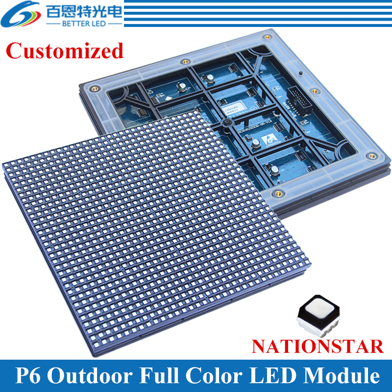 60pcs/lot P6 Outdoor 192*192mm 32*32 Pixels 1/8 Scan 3in1 NATIONSTAR SMD3535 Full Color P6 LED Display Module