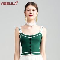YIGELILA 2017 Latest Women Fashion Sexy Spaghetti Strap Backless Lace Patchwork Short Slim All Match Knitted