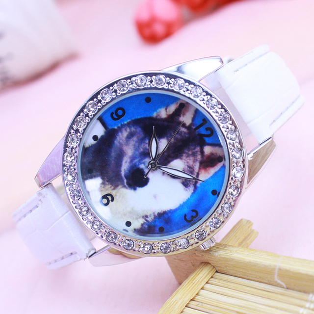 2018 women ladies leather quartz bracelet watches fashion lovely dog diamond cry