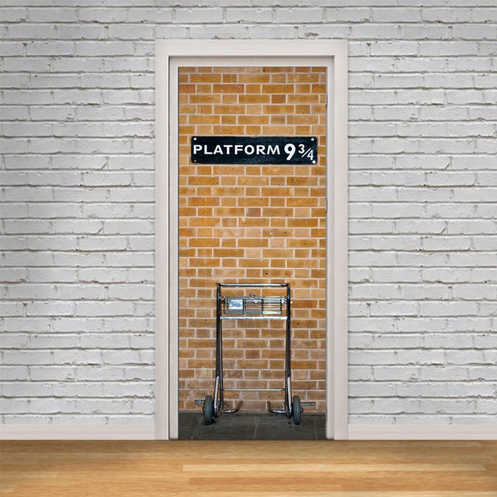 Funlife Harry Potter Plate-Forme 9 3/4 Conception Auto-adhensive BRICOLAGE Porte Affiche Décalque 3D porte autocollants pour La Maison Décoration