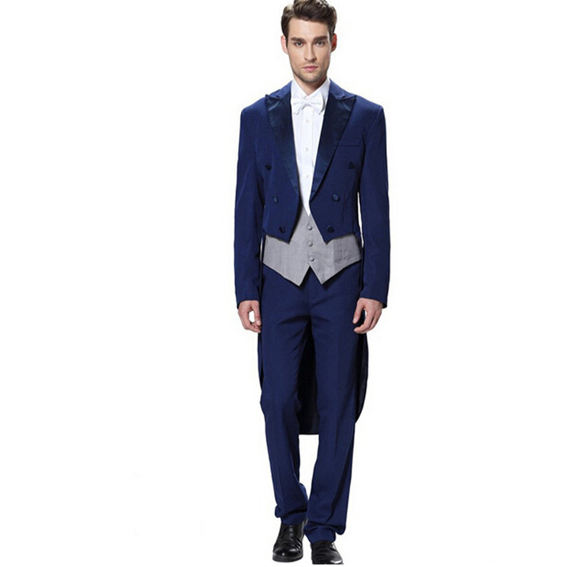 ∞new men suits classic royal blue groom suits tailcoat handsome ...
