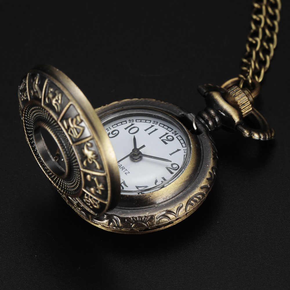 אופנה לשני המינים עתיקים רטרו קטן נשים ליידי Fob שעון SteamPunk סגנון כוכבים מזלות שעון כיס שרשרת תליון