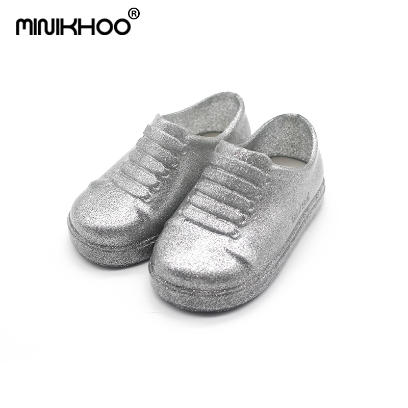 Mini Melissa Mini Men Girls Jelly Sandals Childrens Patent Leather Waterproof Shoes Little Princess Shoes Student Lace Shoes