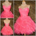 Simple 2015 Knee Length Cocktail Party Dresses Sweetheart Neckline Flowers Pleats Homecoming Prom Gowns Free Shipping
