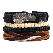 Hot selling 1Set 4pcs Punk Braided Adjustable Leather Bracelets Men For Women Cuff Vintage Jewelry  Wholesale Pulseras Hombre