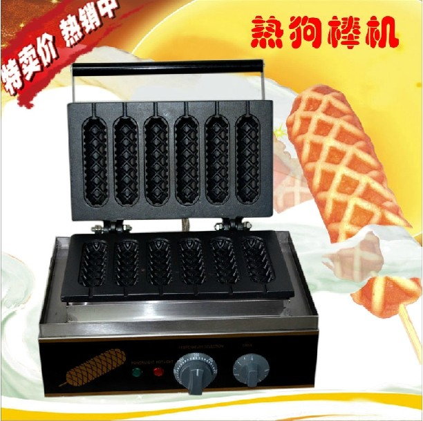 Free shipping Electric 6 pcs Lolly Hot dog waffle maker lolly waffle machine waffle sticks
