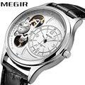 MEGIR Лидирующий бренд, роскошные мужские механические часы с автоматическим перемещением, мужские часы с Т-образным кожаным ремешком, часы с ...