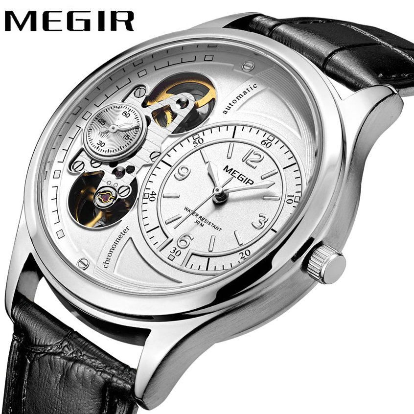 MEGIR Top Brand Luxury Men Mechanical Watches Japan Automatic Movement Leather Strap Hollow Carved Dial Clock relogio masculino luxury brand hollow carved men s retro bronze automatic watches skeleton black leather mechanical wristwatch relogio masculino