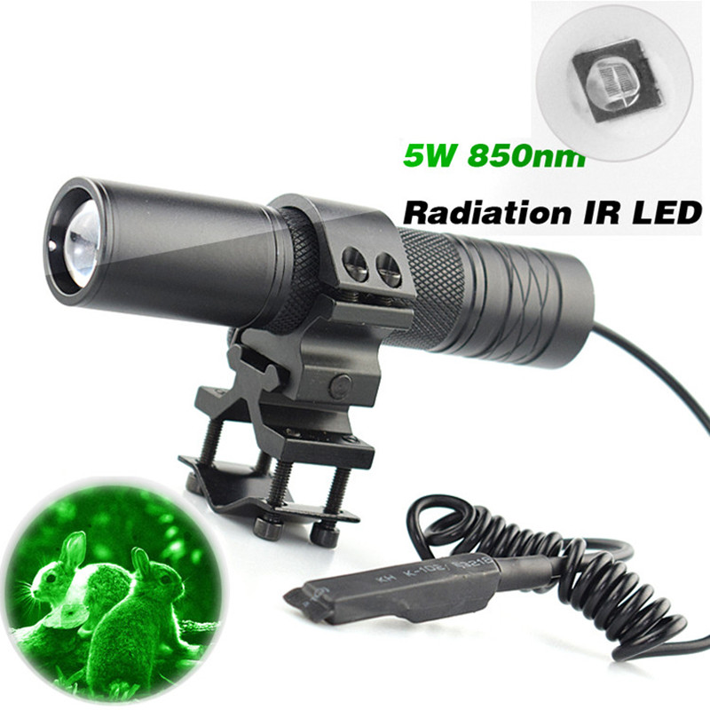 5W Torch 850nm Zoom Infrared Radiation IR LED Night Vision Flashlight Camping Light Hunting Lamp Flashlight For Hunting IR Lamp uniquefire t20 4715s 850nm ir led flashlight infrared radiation night vision light for hunting rat tail charger scope mount