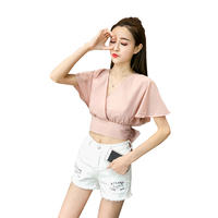 Sexy V Neck Backless Crop Tops Solid Color Shirts 2018 Summer Woman Clothing Fashion Short Sleeve Shirts Korean New Short Blouse
