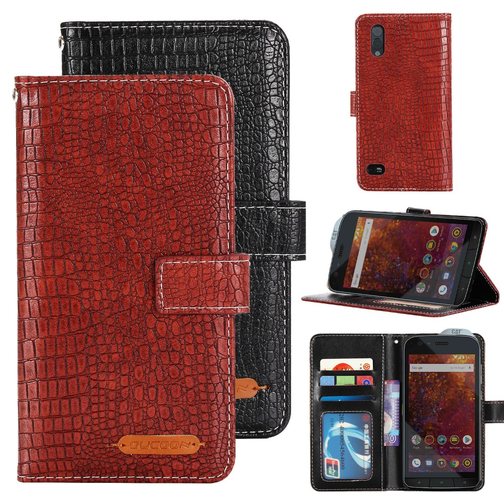 GUCOON Fashion Crocodile Wallet for Caterpillar <font><b>Cat</b></font> <font><b>S61</b></font> Case Luxury PU Leather Phone Cover Bag High Quality Hand Purse image