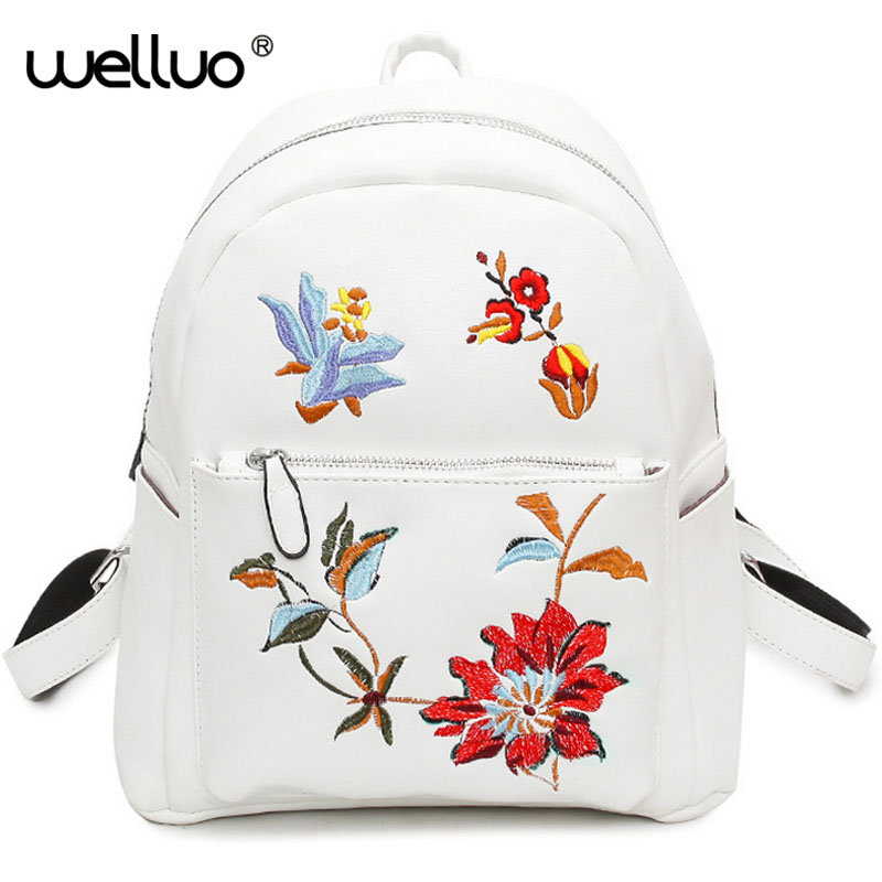 Fashion Floral Pu Leather Backpack Women Embroidery School Bag For Teenage Girls Brand Ladies Backpacks Gray